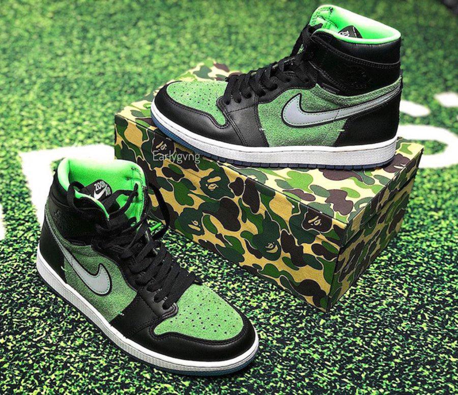 AJ,AJ1,Zoom,Air Jordan 1 High  「黑綠配色」AJ1 Zoom 最新實物曝光!太像 13 年前的 Dunk SB!