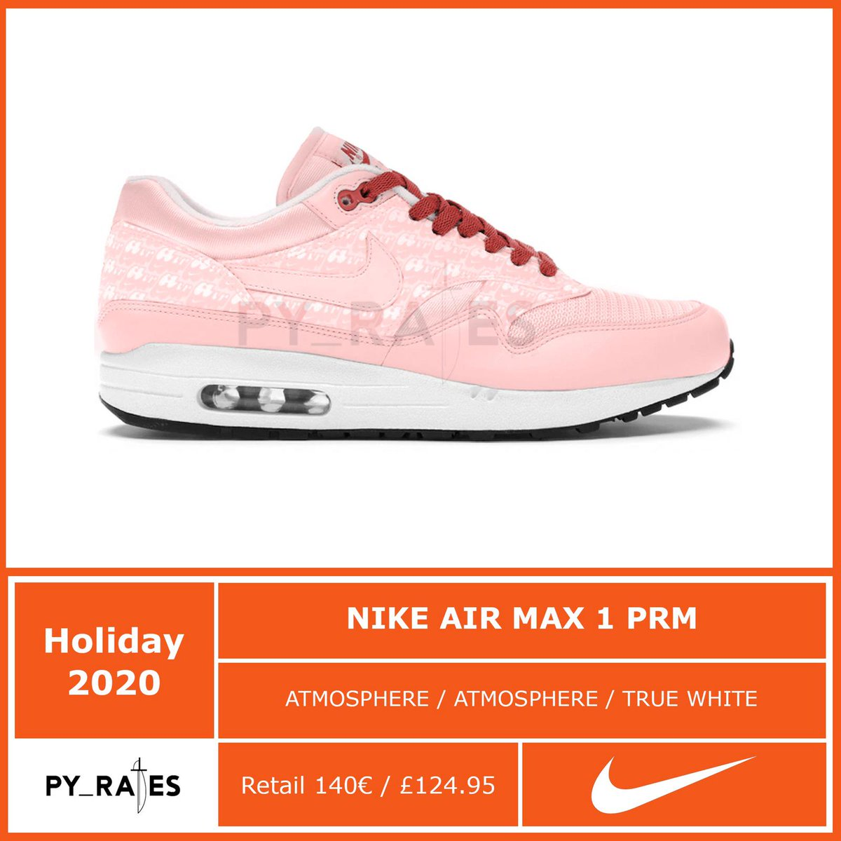 """Air Max 1,Nike  清新粉色装扮!Air Max 1 """"Pink Lemonade"""" 即将回归!"""