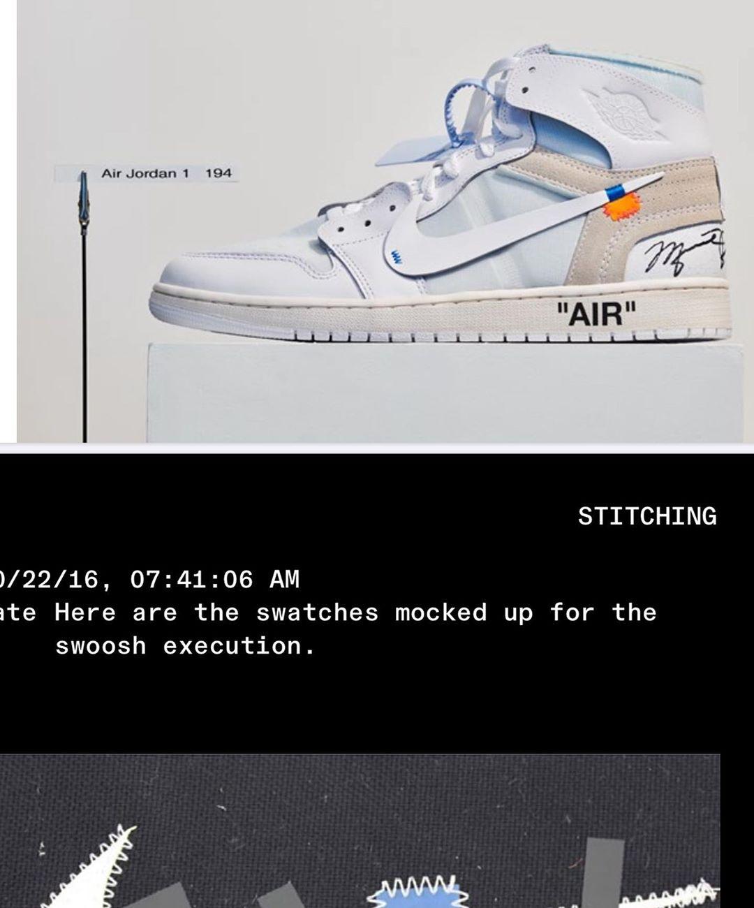 OFF-WHITE,AJ1,Air Jordan 1,  Virgil 晒 OW x AJ1 未市售样品!居然带有 MJ 亲签!