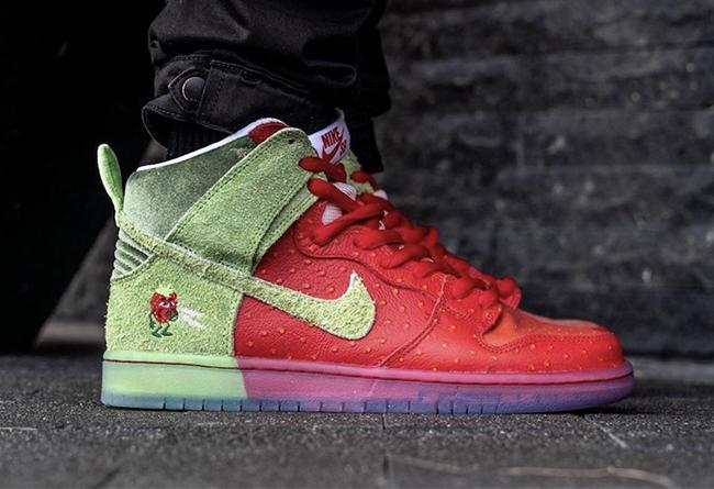 Dunk SB,Nike,發售,CW7093-600,上腳  視覺沖擊力十足!咳嗽草莓 Dunk SB 上腳有點香!