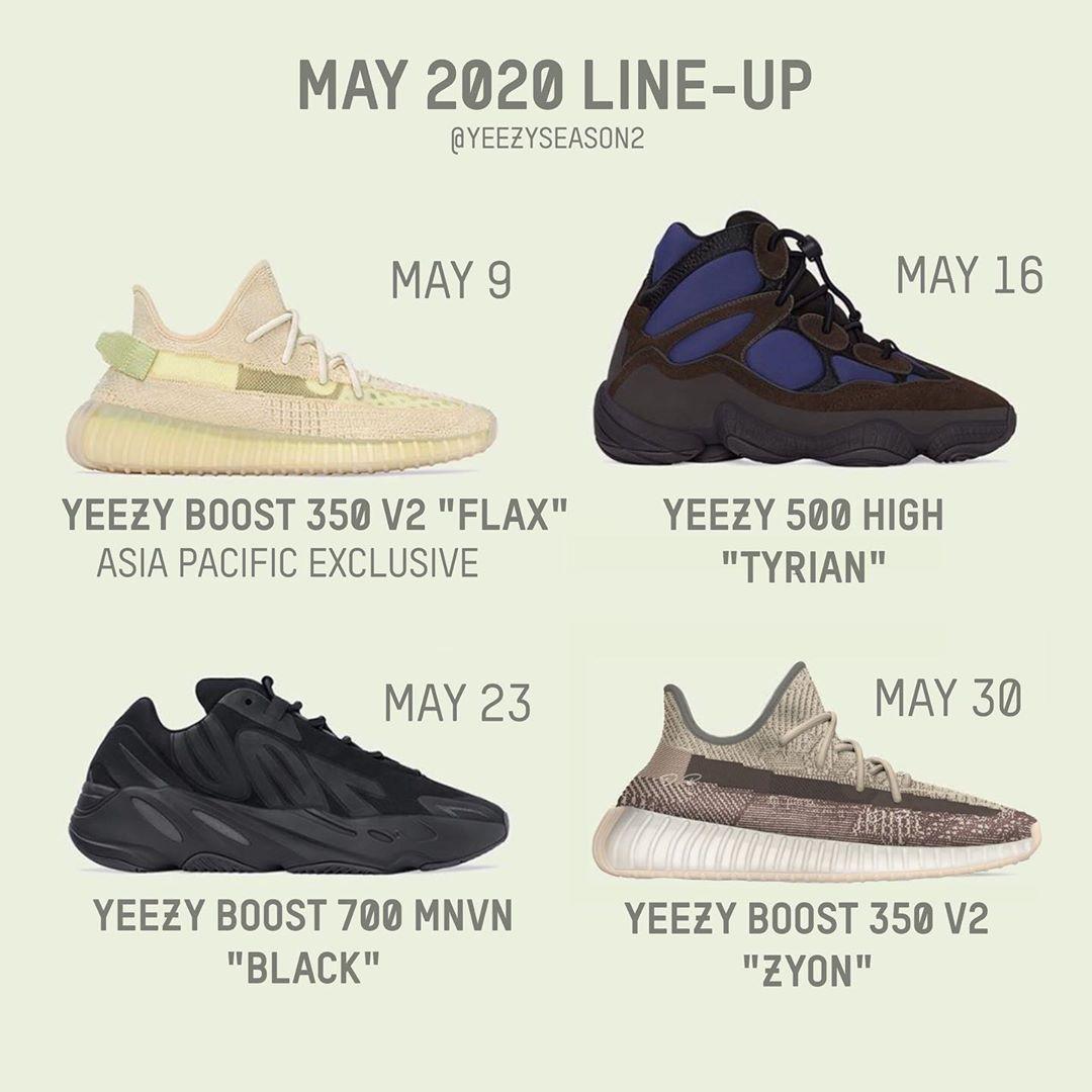 Yeezy,Yeezy 350 V2,Yeezy 500,Y  5 月 Yeezy 发售计划来了!Yeezy 500 时隔半年回归!