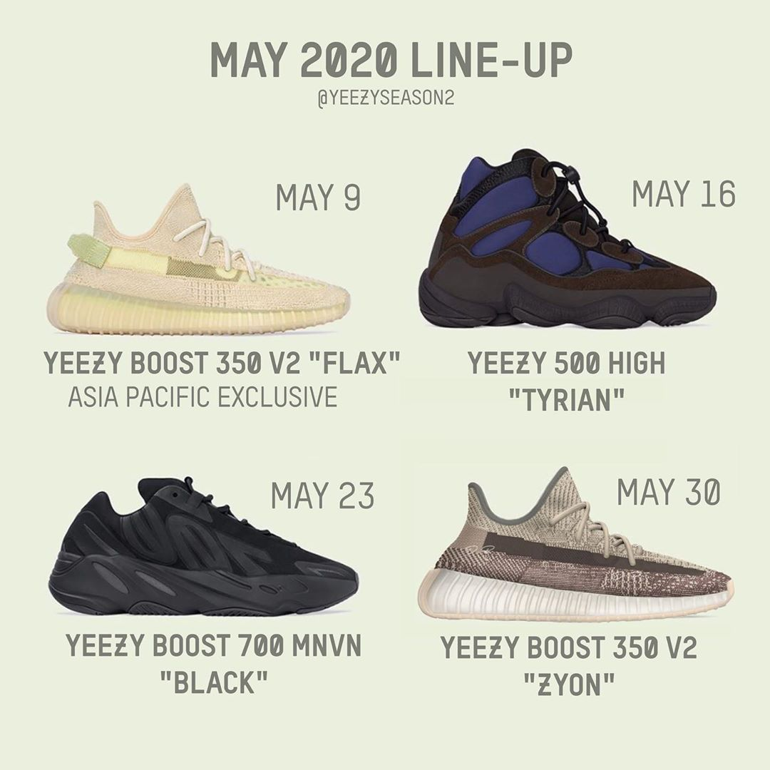 Yeezy,Yeezy 350 V2,Yeezy 500,Y  5 月 Yeezy 發售計劃來了!Yeezy 500 時隔半年回歸!