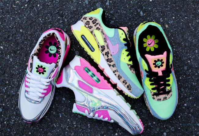 Nike,Air Max 90 LX,CQ2559-100,  全息炫彩 + 丹宁小花!这两双 Air Max 90 太抢眼了!