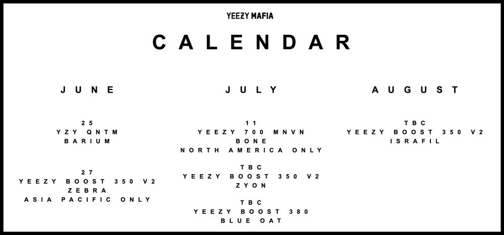 Yeezy,Yeezy 350,Yeezy 380,Yeez  錢包頂不住!一張圖看懂 Yeezy 未來三月發售計劃!