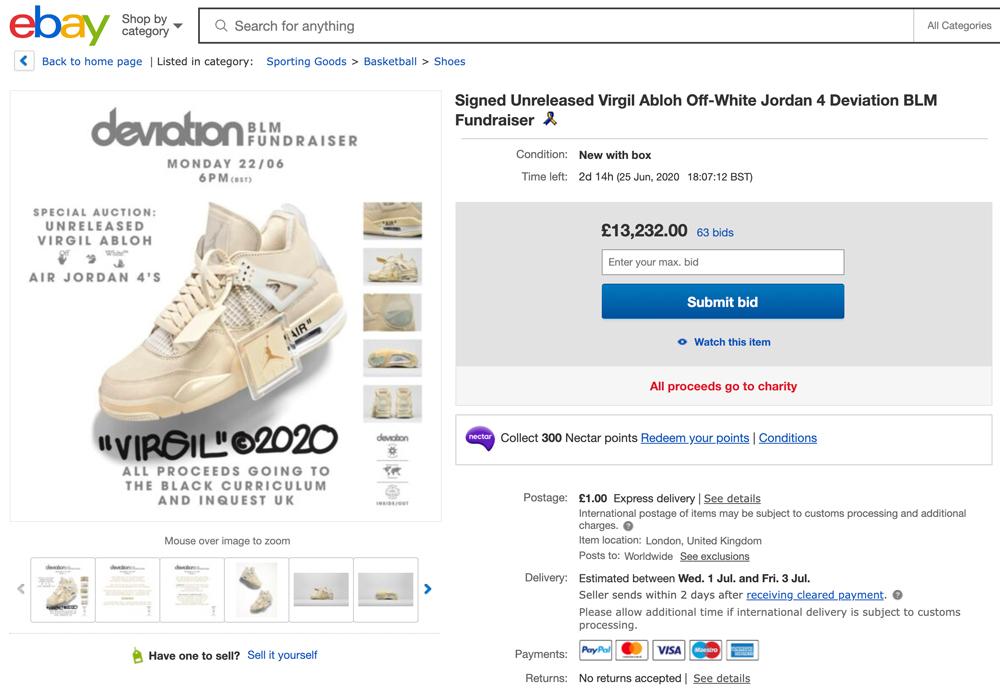 AJ4,Air Jordan 4,CV9388-100,发售  未市售 OFF-WHITE x AJ4 提前拍卖!现在已经突破 11 万了...