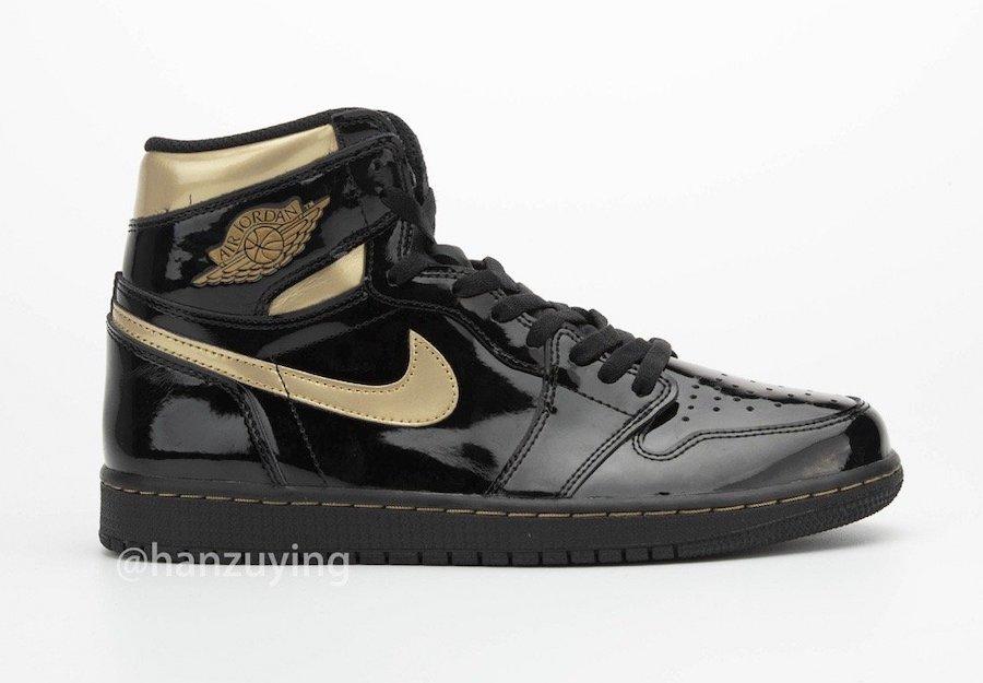555088-032,AJ1,Air Jordan 1 555088-032 AJ1 低调奢华!漆皮黑金 Air Jordan 1 完整实物图来了!