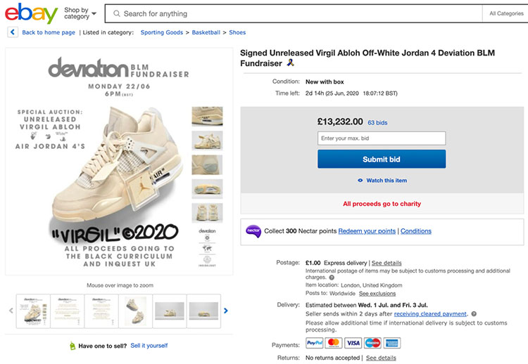 OFF-WHITE,Air Jordan 4,Sail,CV  OFF-WHITE x AJ4 拍卖结束!近 20 万美元成交,身价翻了 900 倍!