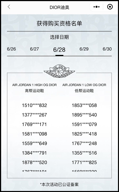 Dior,Air Jordan 1,AJ1,AJ1 Low,  到底发了多少双?高帮 Dior x AJ1 的货量有人数出来了...