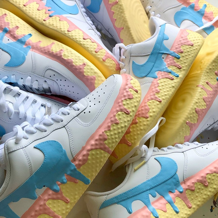 Air Force 1,AF1,Nike,球鞋定制  超逼真融化效果!这双冰淇淋 Air Force 1 真诱人!