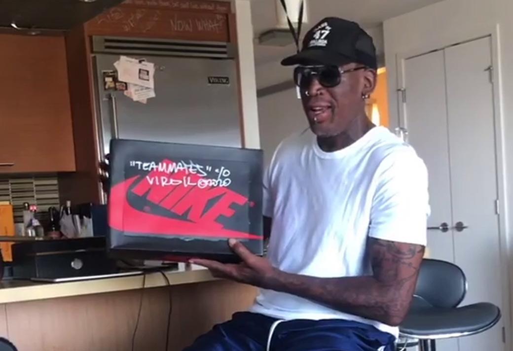 Virgil,OW,OFF-WHITE,AJ1,Air Jo AJ1 收到 Virgil 送来的专属球鞋!把罗德曼高兴坏了!