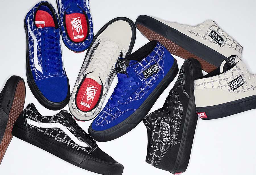 Supreme,Vans,Old Skool,Half Ca  鞋身弹幕式 Supreme 字样!Supreme x Vans 明日发售!