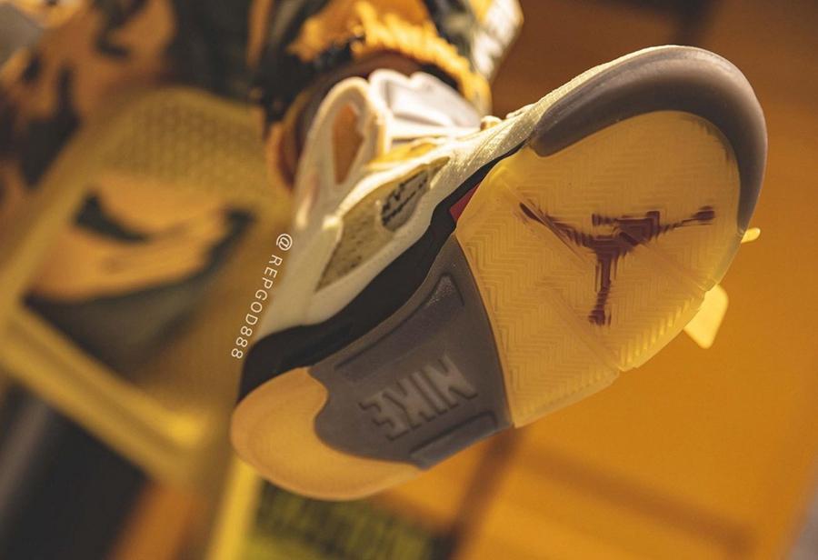 Air Jordan,AJ5,OFF-WHITE,Sail  最新上脚照曝光!流川枫 OFF-WHITE x Air Jordan 5 即将面世!