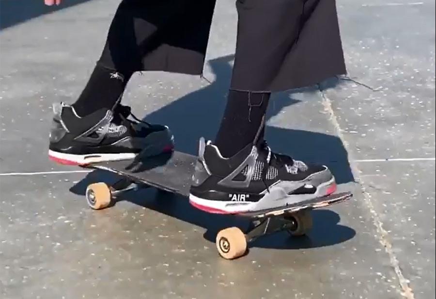 Erik Arteaga,OWW-WHITE,Air Jor  穿未市售黑红 OW x AJ4 滑板!这小伙子玩鞋太硬核!