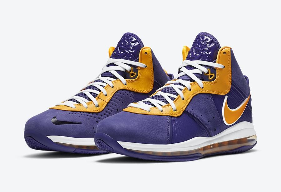 Nike,LeBron 8,Lakers,DC8380-50  上脚效果不一般!湖人配色 LeBron 8 下周二发售!