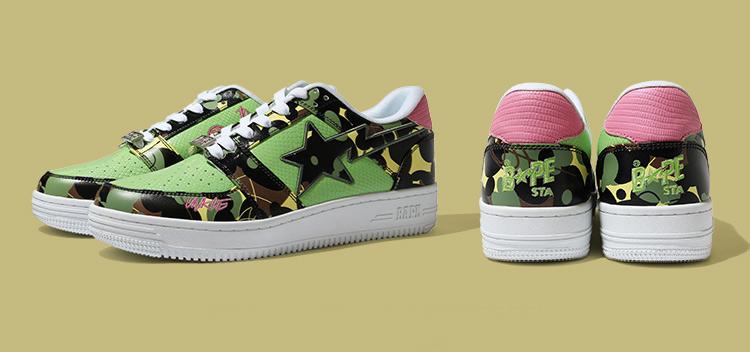 BAPE STA™,MO'WAX,BAPE  骚气粉绿还有迷彩点缀!BAPE® 新联名鞋现已正式发售!