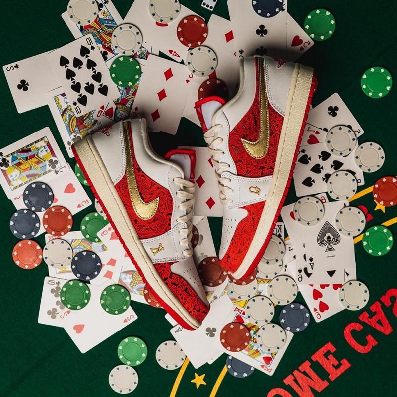 "Jordan Brand,Air Jordan 1 Low,  红色 ""黑桃"" 见过吗!全新 AJ1 Low 细节玩出花了!"