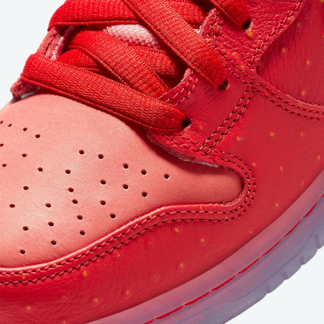 Nike,SB Dunk High,CW7093-600,发  跳票好几次终于要发了?咳嗽草莓 SB Dunk 官图释出!