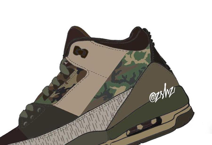 AJ3,Air Jordan 3,Camo  多种「迷彩」细节点缀!全新配色 AJ3 你打几分?