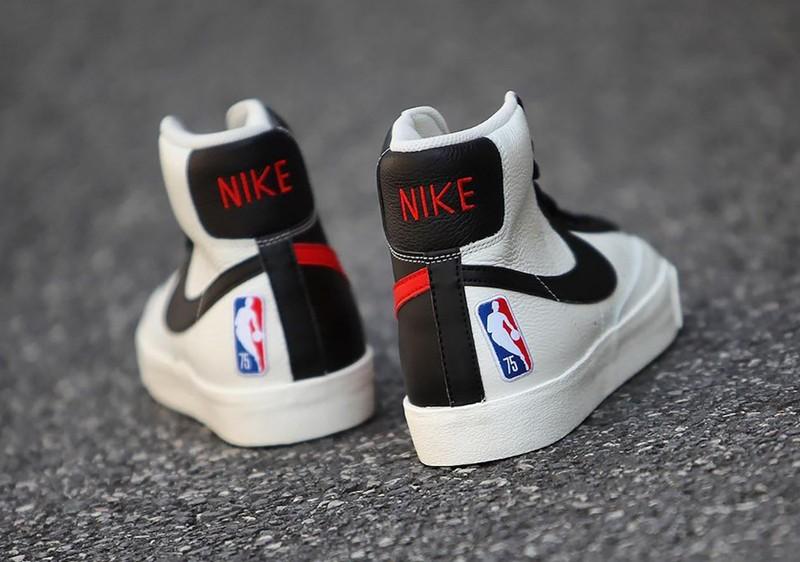 NBA,Nike Blazer Mid  黑白阴阳装扮!NBA 联名 Blazer Mid 实物曝光!