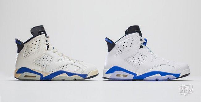 """乔丹2014复刻_Air Jordan 6 """"Sport Blue"""" 元年与 2014 款对比 AJ6 球鞋资讯 FLIGHTCLUB ..."""